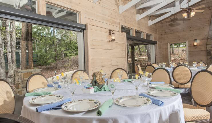 Creekside banquet setup