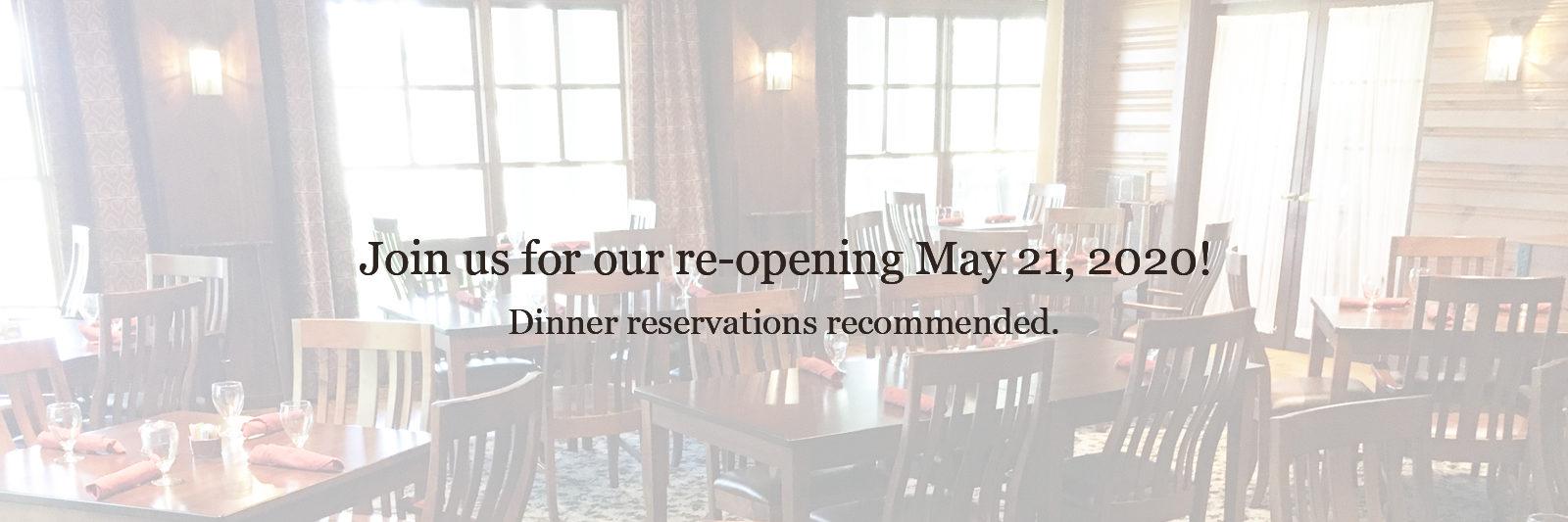 Brasstown Valley Header Dining Room reopening